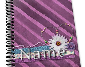 Personalized Notebook, Passionate Pink. Custom Journal, Spiral Notebooks, Note Books, Personalized Gifts,  - AGDNB-013