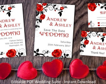 Wedding suite INSTANT DOWNLOAD   Editable Templates   Black & Red Wedding Invite, rsvp, save the date, invite   Red Rose Collection   PDF