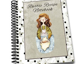 Rustic Recipes Notebook 8 x 10   Spiral Bound Notebook   Family Recipes Blank Notebook