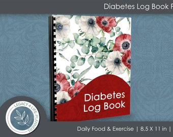 Diabetes Log Book PDF   Daily Food & Exercise Journal   90 Days Meal Activity Blood Sugar Tracker  8.5 x 11   Diabetes Journal  