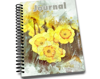 Yellow Daffodill / 150 Lined Journal Pages / Notebook / Diary / 6 x9