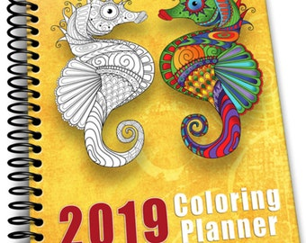 2019 Coloring Planner   8 x 10   Spiral Bound Notebook   Weekly  Monthly Planner with Coloring Page Month dividers   137 Pages