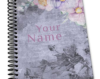 Personalized Notebook, Grungy Blue Floral. Custom Journal, Spiral Notebooks, Note Books, Personalized Gifts,  - AGDNB-012