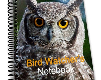 Owl Bird Watcher's Notebook    8 x 10   Spiral Bound Notebook   Birding Journal   Blank Notebook