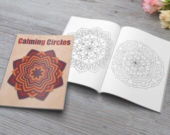 Calming Circles   40 Circular Mandala Patterns   8.5 x 11 PDF   Download Printable   Adult Coloring Book PDF