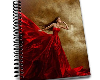 Lady in Red   6.5×9 Wire-o Hard Cover Notebook   Lined Journal Pages / Notebook / Diary