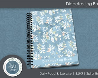 Diabetes Log Book Spiral Bound   Daily Food & Exercise Journal   90 Days Meal Activity Blood Sugar Tracker   6.5 x 9   Diabetes Journal   B