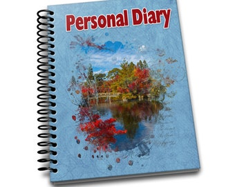 Personal Diary/ 150 Lined Journal Pages / Notebook / Diary / 8 x10 / River