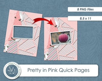 Pretty In Pink Quick Pages  PNG Scrapbook Elements   8.5 x 11