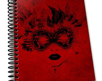 Masked Lady   6.5×9 Wire-o Hard Cover Notebook   Lined Journal Pages / Notebook / Diary