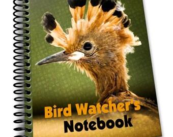 Hoopoe Bird Watcher's Notebook    8 x 10   Spiral Bound Notebook   Birding Journal   Blank Notebook