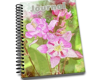 Pink Flower / 150 Lined Journal Pages / Notebook / Diary / 6 x9