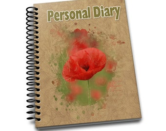 Personal Diary/ 150 Lined Journal Pages / Notebook / Diary / 8 x10 / Tulip