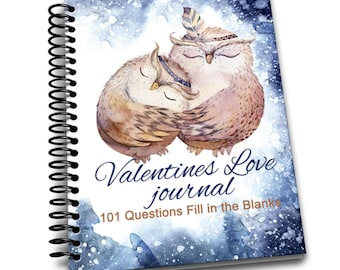 Valentines Love Journal - 101 Questions Fill in the Blanks    6.50 x 9  Spiral Bound Notebook   Valentines Blank Notebook
