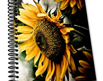 Sunflower   8 x 10 Coil Bound   Soft Cover Notebook   Lined Journal Pages / Notebook / Diary