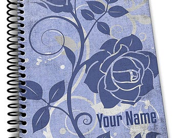 Personalized Notebook, Whimsical Blue Swirl. Custom Journal, Spiral Notebooks, Note Books, Personalized Gifts,  - AGDNB-011