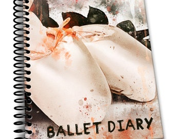 Ballet Diary: 110 Lined Journal Pages / Notebook / Diary / 8x10/ Shoes