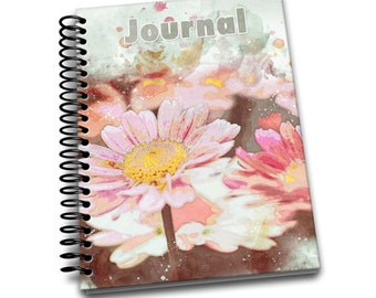 Pink Daisy / 150 Lined Journal Pages / Notebook / Diary / 6 x9