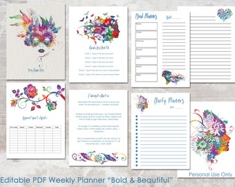 Editable Daily Weekly Planner PDF   8.5 x 11   Weekly To Do   Meal Planner   Daily Task   Appointment   Legacy4Life Planner  
