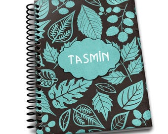Personalised Teal Black Leaf 6.5×9 Wire-o Hard Cover Notebook