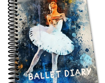 Ballet Diary: 110 Lined Journal Pages / Notebook / Diary / 8x10/ White Tutu