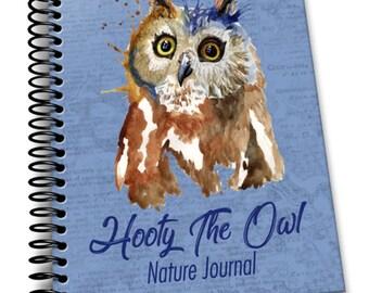 Hooty the Owl's Nature Journal   8 x 10   Spiral Bound Notebook   Children's Journals   Blank Notebook