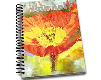 Orange Tulip / 150 Lined Journal Pages / Notebook / Diary / 6 x9