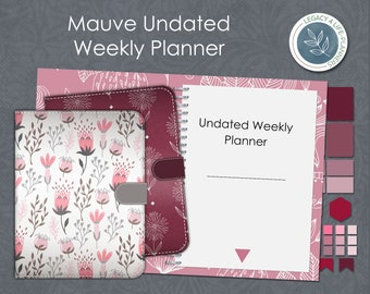 Digital Undated Weekly Planner   Mauve Weekly  Planner   Goodnotes   Notability   Stickers   5 Digital Covers