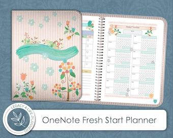 OneNote Digital Fresh Start Planner   Stickers   OneNote Ready File