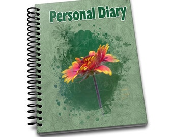 Personal Diary/ 150 Lined Journal Pages / Notebook / Diary / 8 x10 / Orange Flower