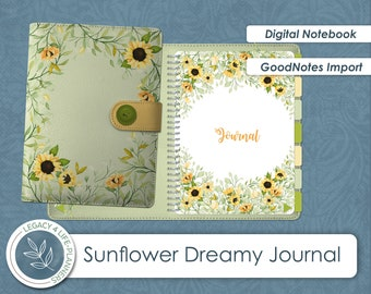 GoodNotes Sunflower Dreamy Journal   Blank Lined Notebook or Composition Book    Goodnotes Ready File