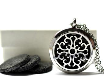Medieval Crest Lava Stone Stainless Steel Diffuser Necklace // Aromatherapy Necklace // - With Choice of Essential Oil