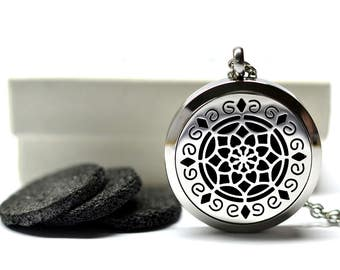 Lava Stone Grand Lotus Stainless Steel Diffuser Necklace // Aromatherapy Necklace //- With Choice of Essential Oil