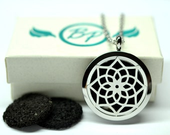 Lotus Lava Stone Stainless Steel Diffuser Necklace // Aromatherapy Necklace //- With Choice of Essential Oil