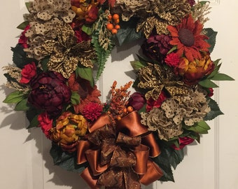 Fall color floral wreath