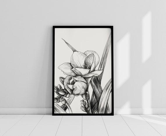 Dessin De La Fleur De Lys Noir Et Blanc Original Art Print Imprimable Fleur Cadeau Pour Elle Imprime Pour La Maison Ou Votre Bureau