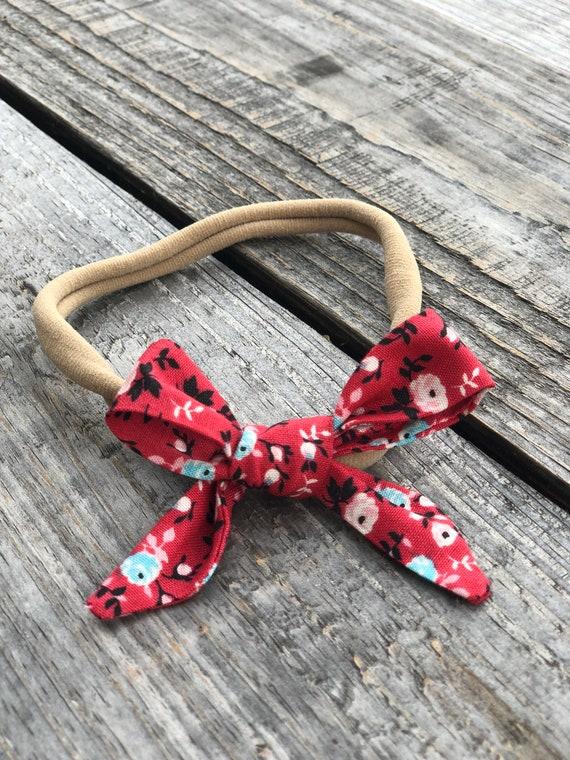 Infant Baby Toddler Nylon Headband with Fabric Bow