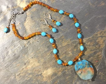 Turquoise Color and Amber Necklace set