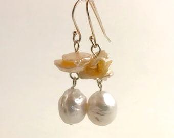 Handmade Sterling Silver Baroque Freshwater Pearl Wire Hoop Earrings