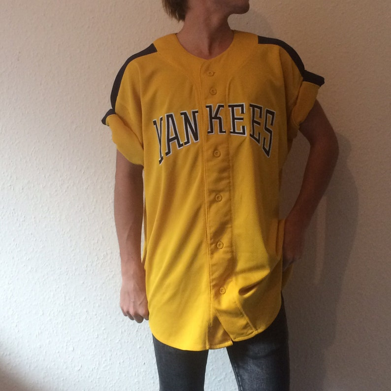 Vintage Yellow New York Yankees MLB Baseball Starter Jersey  4bd63287620