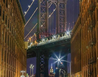 Manhattan Bridge at Night DUMBO Brooklyn