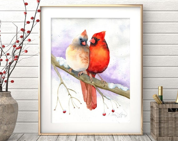 Cardinal Print, Cardinal Couple, Watercolor Painting of Birds in Love, Cardinal Pair