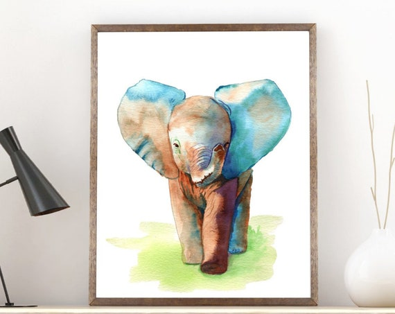 Elephant Art Print, Baby Elephant Wall Art, Animal Watercolor Print, safari poster nursery gift, nursery decor