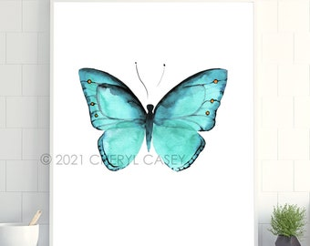Butterfly Wall Decor Art Print from Watercolor Painting by Cheryl Casey, teal blue aqua turquoise