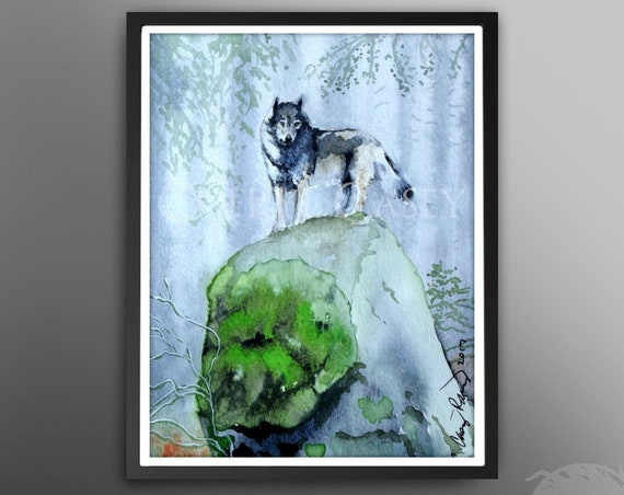 Wolf Art Print Wolf Totem by Cheryl Casey, Gray Wolf in a Misty Forest, Wildlife Art, Wolf Painting