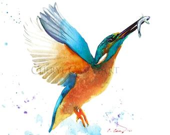 Kingfisher Bird Art Print from Watercolor Painting by Cheryl Casey, teal blue bird wall art