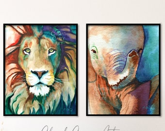 Lion Elephant Art Prints Set of 2 from Watercolor Paintings by Cheryl Casey, wildlife colorful animal wall art