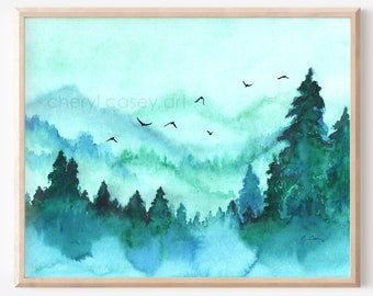 Mountain Wall Art Watercolor Mountain Print from Painting by Cheryl Casey, pine trees forest turquoise teal landscape