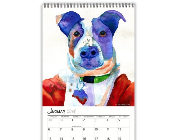 "Wall Calendar, 2019 Wall Calendar, Watercolor Wall Calendar, Dog Calendar, 12 Colorful Dog Art Prints, 17"" tall x 9"" wide"