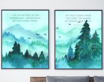 Bible Verse Wall Art Print Set of 2 from Mountain Watercolor Painting by Cheryl Casey, Psalm 121 I lift up my eyes to the mountains